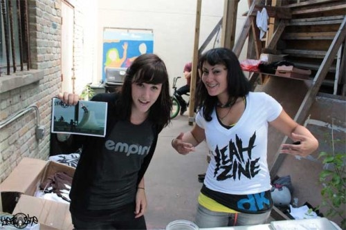 "Role Models for female riders and editors of ""Yeah Zine"": Angie Marino (left) and Nina Buitrago. Photo: Yeah Zine"