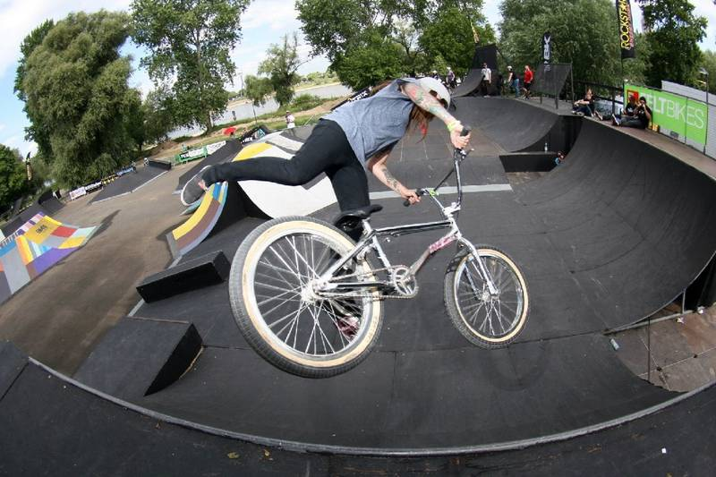 "Cologne, BMX Masters, Saturday, 9th of July, 11 o' clock. Despite exhausting party-nights over a thousand people look full of expectation at ten female BMX-riders of the ""Girls' Class"" (park), who have come from countries all over the world to make a statement for female BMX."