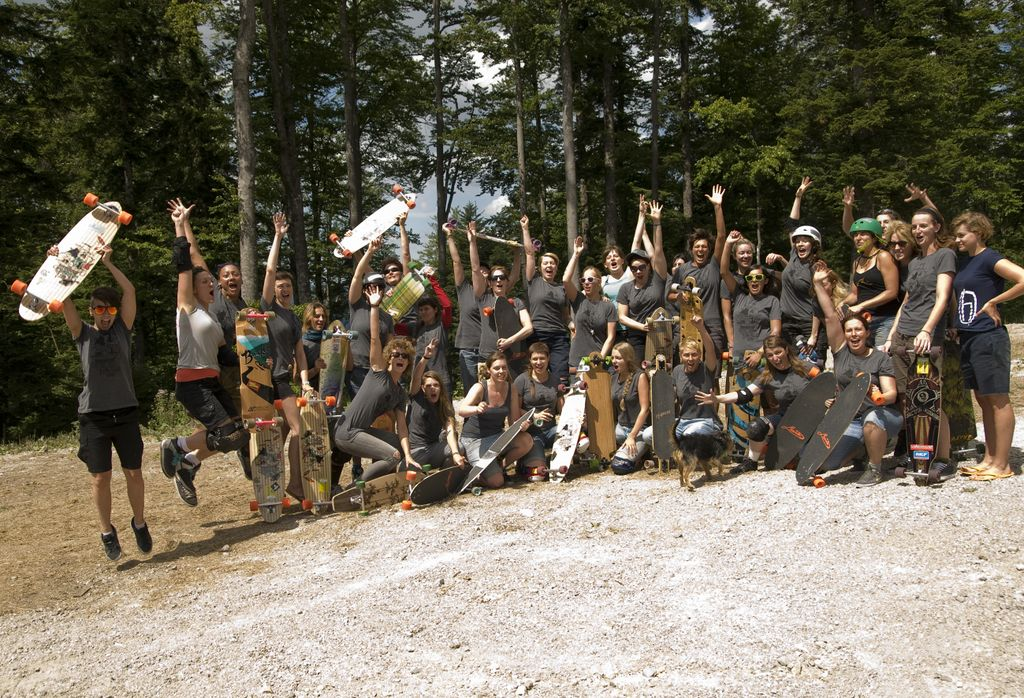 The girls from the first women's longboard camp took place last August in Slovenia.